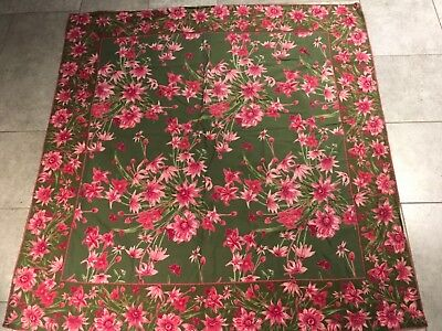 April Cornell Pink Lily Daisy Flower Garden Floral Tablecloth Green Square