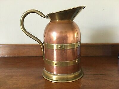 """Vintage Linton Copper and Brass jug / pitcher - 7"""" tall"""