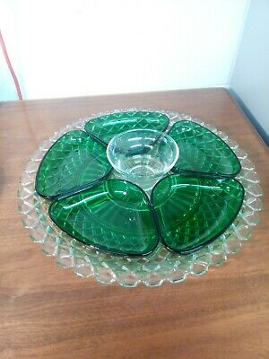 ANCHOR HOCKING Clear Glass WATERFORD WAFFLE Relish Tray w Green Inserts 7pc Set