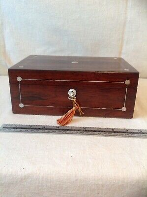 Lovely Victorian Jewellery/ Sewing Box With Working Lock And Key