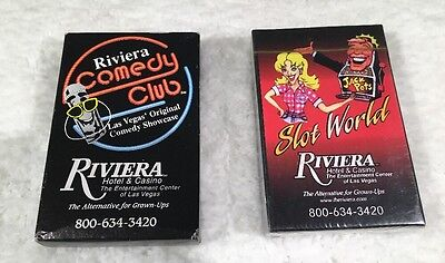 Vegas Riviera Hotel & Casino Slot World & Comedy Club Playing Cards 2 decks!