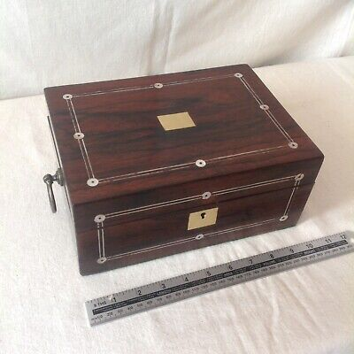 Handsome Victorian Sewing/ Jewellery Box With Great Finish And Lovely Interior