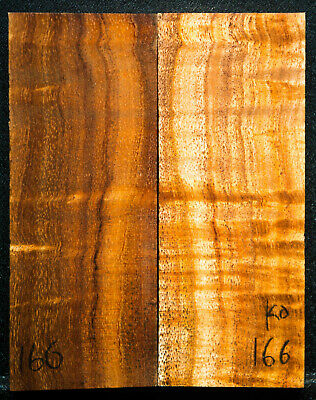 """Curly Koa #166 Knife Scales 5""""x 2"""" x 9/16""""  see 100 species in my store"""