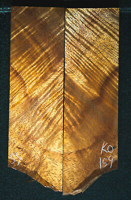 """Curly Koa #159 Knife Scales 5.3-6.2""""x 1.8"""" x 1/2"""" see 100 species in my store"""