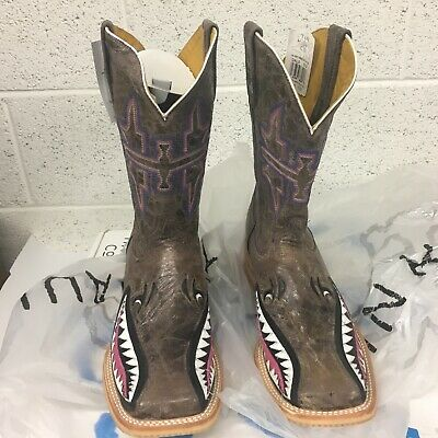 0b701a98df118 TIN HAUL WOMENS Man Eater Shark Brown Cowgirl Western Cowboy Boots ...