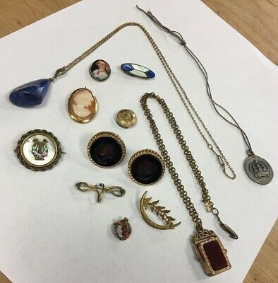 Lot Of Antique Victorian Costume Jewelry Earrings Cameo Pendants Gold Filled