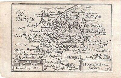 Rare Antique 1627 Map of HUNTINGDONSHIRE by Van Der KEERE - Minature Speed Map