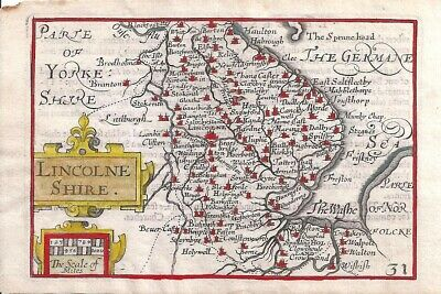 Rare Fine Antique 1627 Map of LINCOLNSHIRE by Van Der KEERE - Minature Speed Map