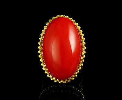 Vintage Mid-Century Modernist Natural Untreated Ox Blood Red Coral 18K Gold Ring