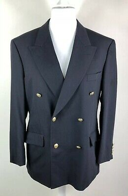 Vintage M&S Size 40 Navy Blue Blazer Jacket Double Breasted Gold Buttons Wool