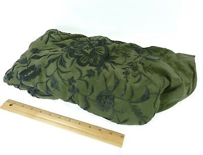 Vintage Silk Fabric Green Heavily Embroidered Floral Custom Made in India