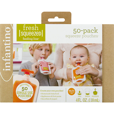 Infantino 208-102 Squeeze Pouches 50 Count Fresh Baby Feeding Puree 4fl