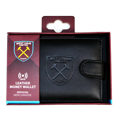 West Ham United Fc Debossed Crest Rfid Real Leather Football Club Money Wallet