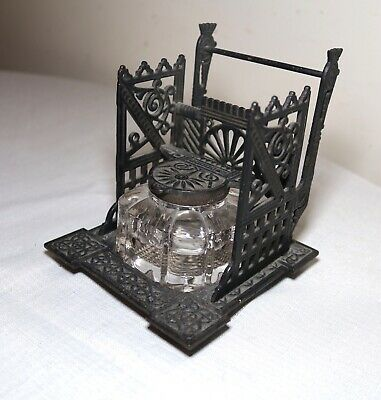 antique ornate cast iron Eastlake glass writing inkwell jar stand Aesthetic