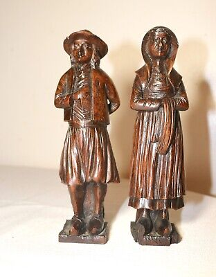 pair of antique 1800's hand carved wood figural sculpture architectural man lady