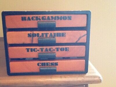 4-1 Wooden Travel Game-Excellent Shape-Tic-Tac-Toe, Solitaire, Backgammon, Chess