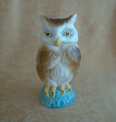 "Rare Large Porcelain Owl Figurine Handpainted Made in Italy Excellent 10"" Tall"