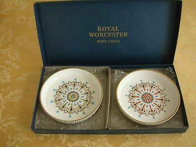 Pair Of Royal Worcester Round Hand Painted Coasters England