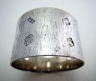 Heavy 47g Bark Effect Solid Sterling Silver Napkin Ring Feature Hallmarks Retro