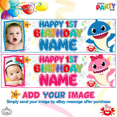 2x Personalised Baby Shark PHOTO Birthday Banner Kids Party Decoration - ANY AGE
