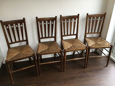 Arts and Crafts Kitchen Chairs, rush seat, in unrestored condition x 4.
