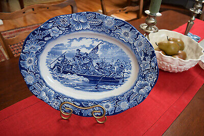 "Staffordshire 14"" LIBERTY BLUE WASHINGTON CROSSING THE DELAWARE OVAL PLATTER"