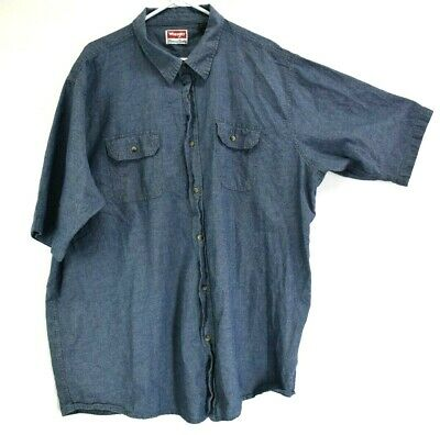 6070ee01 Wrangler Men's 3XT Big & Tall Button Up Short Sleeve 100% Cotton Shirt