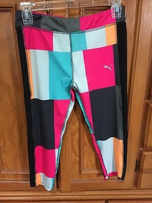 nwt PUMA bold graphic LEGGINGS cropped girl sz large 12-14 $32 msrp