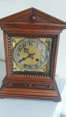 Attractive Antique D.r.g.m. Quality German Wooden Cased 8 Day Mantle Clock.