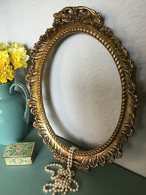 Gorgeous Vintage Baroque/Rococo Gold/Gilt French Style Oval Picture Frame#5467