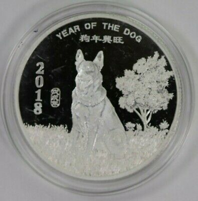 2018 Year of the Dog 1 oz Silver Round in Hard Capsule