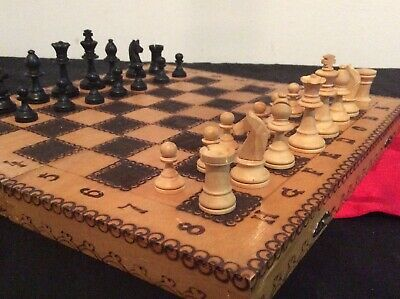 Chess Set Fold Away Board Quality Handmade Wooden Pieces Complete