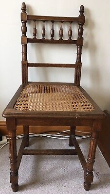 Lovely Victorian / Edwardian Galleried Back Hall / Bedroom Chair Rattan Seat VGC