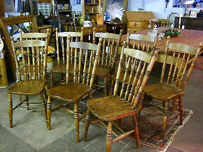 "Fabulous ! ""Set of Eight""  Antique Victorian Vintage Liverpool Spindle Chairs"