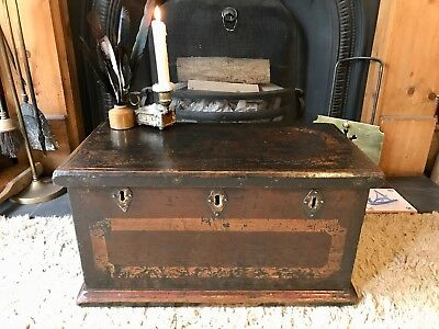 Fabulous Antique Victorian Vintage Old Pine Chest / Trunk / Small Box c1876