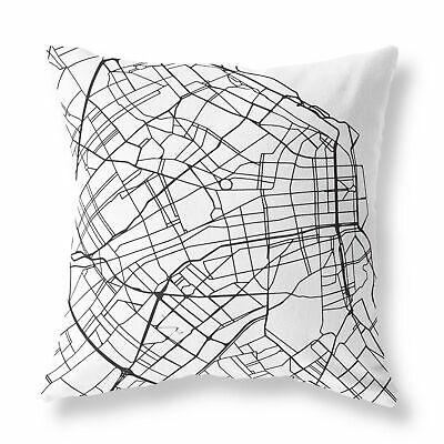 Buenos Aires City Street Map FILLED CUSHION Zip Designer White