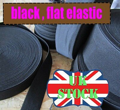 Black Elastic Flat Waistband Dressmaking Elastic Sewing  from 9mm-80mm Woven