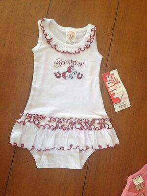 Baby Korral Cowgirl Romper Dress White & Red Ruffles Western Style Nwt