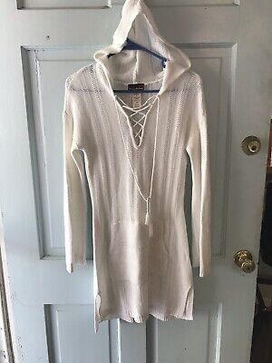 8b95f00135 Tommy Bahama Women's White Linen Crochet Hooded Beach Cover Up Tunic Dress  XS