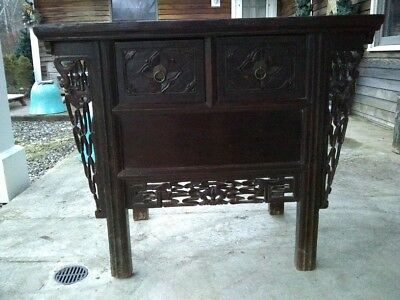 Reduced! Vintage SEA Indonesian Table chest w/2 drawers, hand-carved
