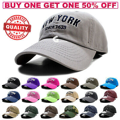 Polo Style Baseball Cap Ball New York Adjustable Plain Solid Washed Cotton Mens
