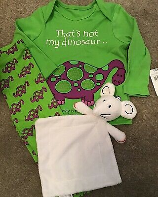 Mothercare Age 6-9 Months That's Not My DINOSAUR Pyjamas & Comforter BNWT