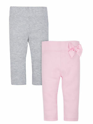 Gerber Baby Girls 2 Pack Organic Cotton Pants NEW Size 12 Months Pink Bow, Grey