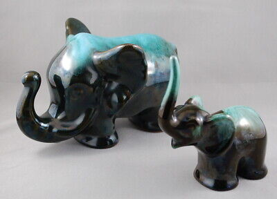 Blue Mountain Pottery Vintage Green and Black Clay Glazed Elephant Pair