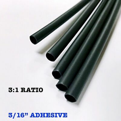 "25 6"" Pieces 3/16"" / 4.8mm Black 3:1 Heat Shrink Tubing Adhesive Lined Dual Wall"
