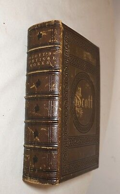 antique 1800's leather bound illustrated Poetical Works of Sir Walter Scott book