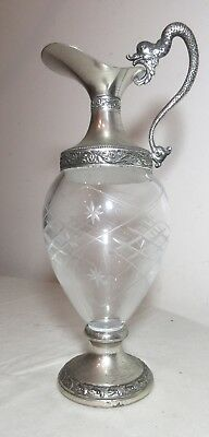 antique ornate Victorian Italian silver-plated crystal ewer wine pitcher flagon