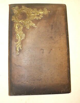 LARGE antique ornate 1800's Victorian leather brass art portfolio folder album