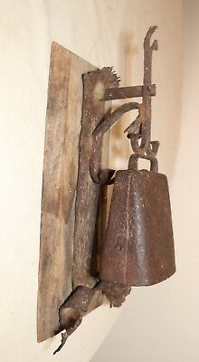 rare antique 18th century hand wrought iron primtiive wall dinner cow bell wood