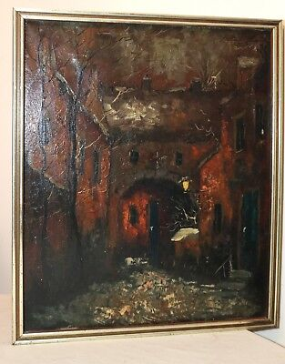 antique original signed stylized dark abstract landscape cityscape oil painting